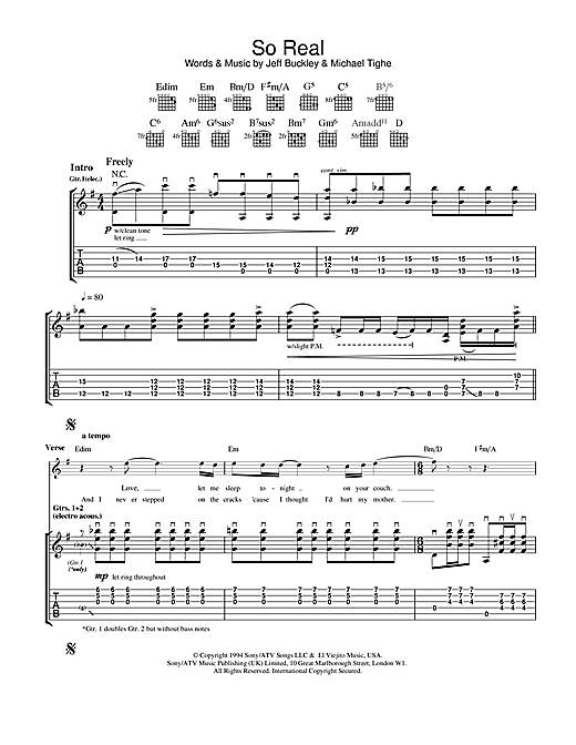 Tablature guitare So Real de Jeff Buckley - Tablature Guitare