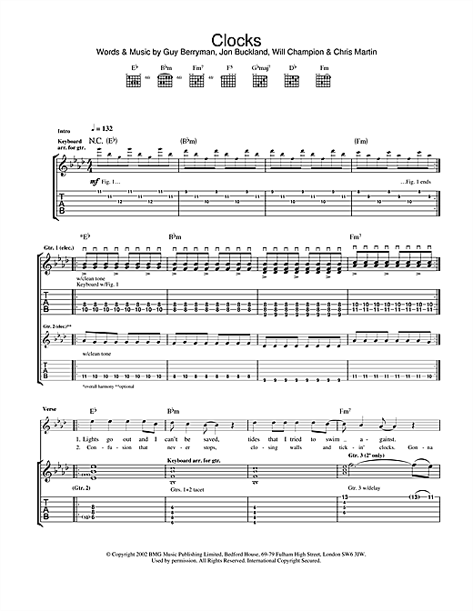 Clocks Sheet Music