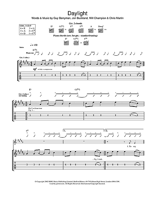 Tablature guitare Daylight de Coldplay - Tablature Guitare