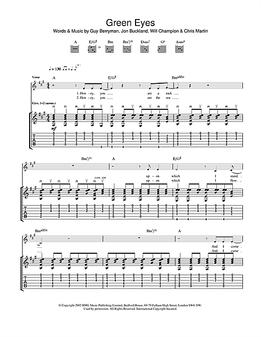 Tablature guitare Green Eyes de Coldplay - Tablature Guitare