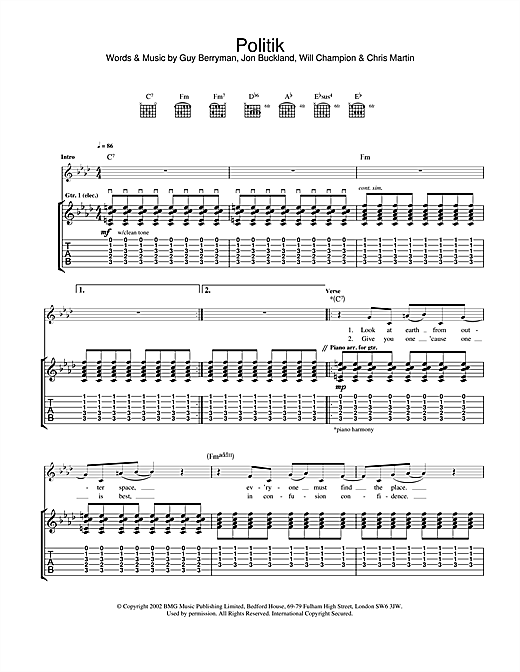 Tablature guitare Politik de Coldplay - Tablature Guitare