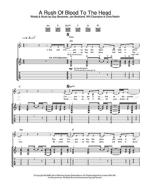 Tablature guitare A Rush Of Blood To The Head de Coldplay - Tablature Guitare