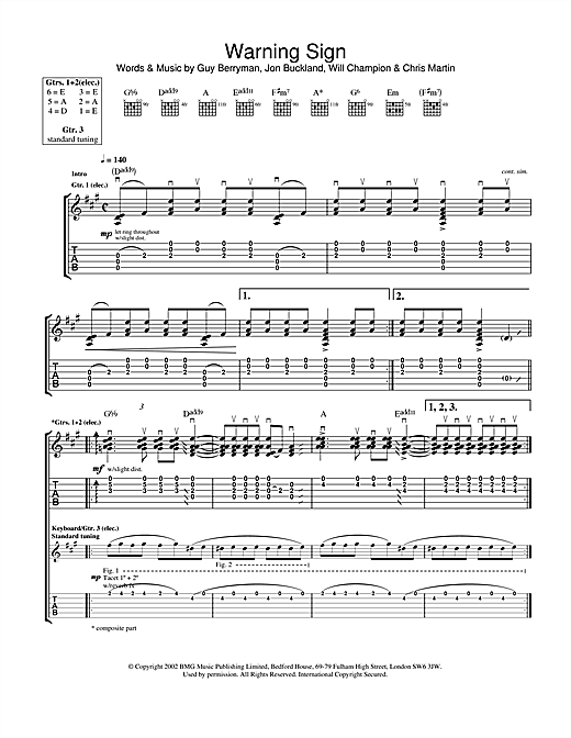 Tablature guitare Warning Sign de Coldplay - Tablature Guitare