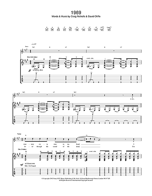 Tablature guitare 1969 de The Vines - Tablature Guitare