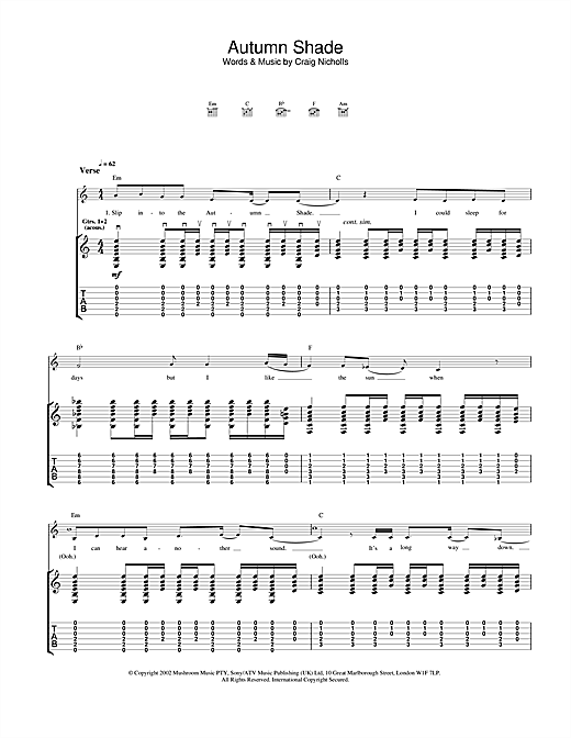 Tablature guitare Autumn Shade de The Vines - Tablature Guitare