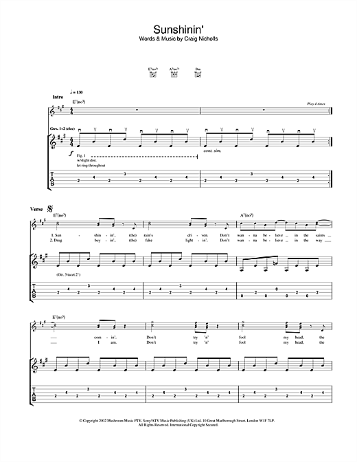 Tablature guitare Sunshinin' de The Vines - Tablature Guitare