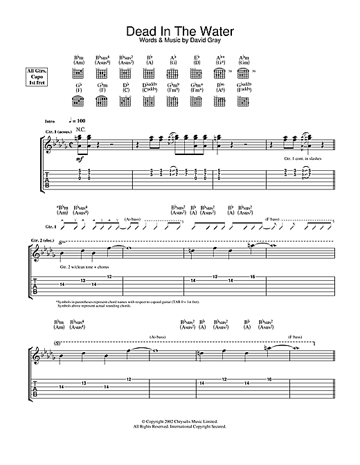 Dead In The Water Sheet Music