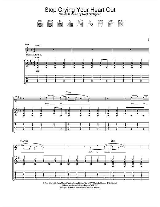 Tablature guitare Stop Crying Your Heart Out de Oasis - Tablature Guitare