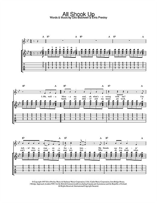 Tablature guitare All Shook Up de Elvis Presley - Tablature Guitare