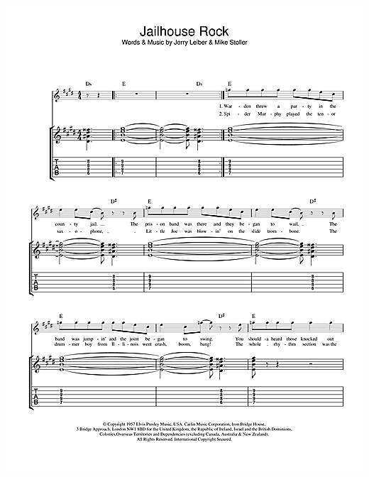 Tablature guitare Jailhouse Rock de Elvis Presley - Tablature Guitare