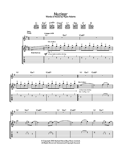 Tablature guitare Nuclear de Ryan Adams - Tablature Guitare