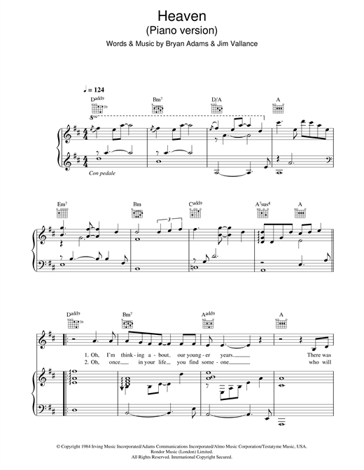Heaven (piano version) Sheet Music