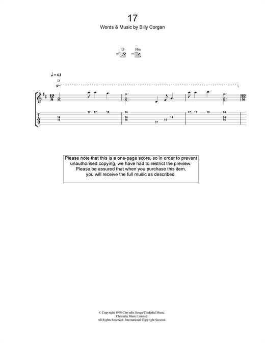 Tablature guitare 17 de The Smashing Pumpkins - Tablature Guitare