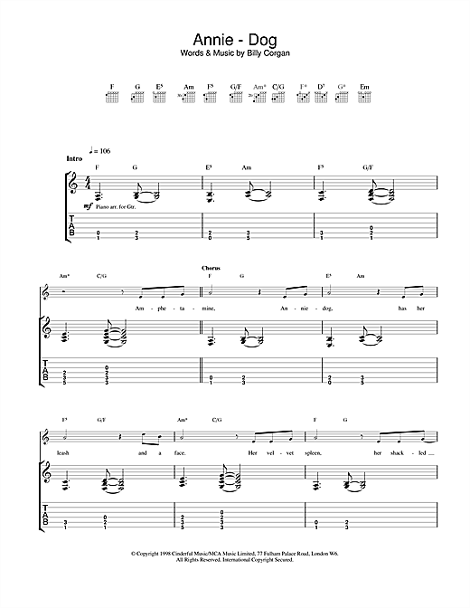 annie dog guitar tab by the smashing pumpkins guitar tab 23147. Black Bedroom Furniture Sets. Home Design Ideas