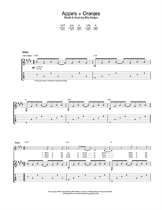 Tablature guitare Appels + Oranjes de The Smashing Pumpkins - Tablature Guitare