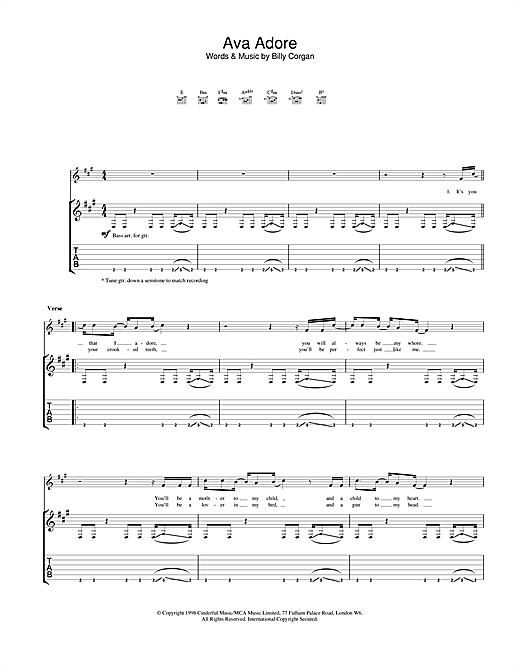 Tablature guitare Ava Adore de The Smashing Pumpkins - Tablature Guitare