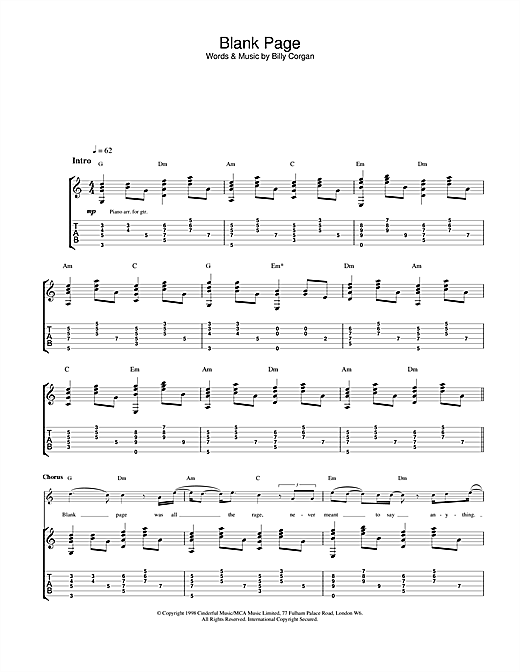 Tablature guitare Blank Page de The Smashing Pumpkins - Tablature Guitare