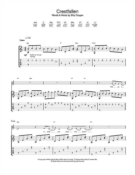 crestfallen guitar tab by the smashing pumpkins guitar tab 23152. Black Bedroom Furniture Sets. Home Design Ideas