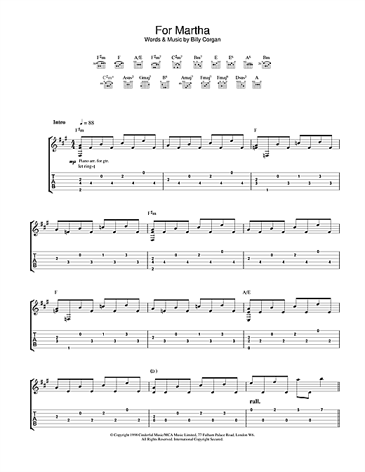 Tablature guitare For Martha de The Smashing Pumpkins - Tablature Guitare