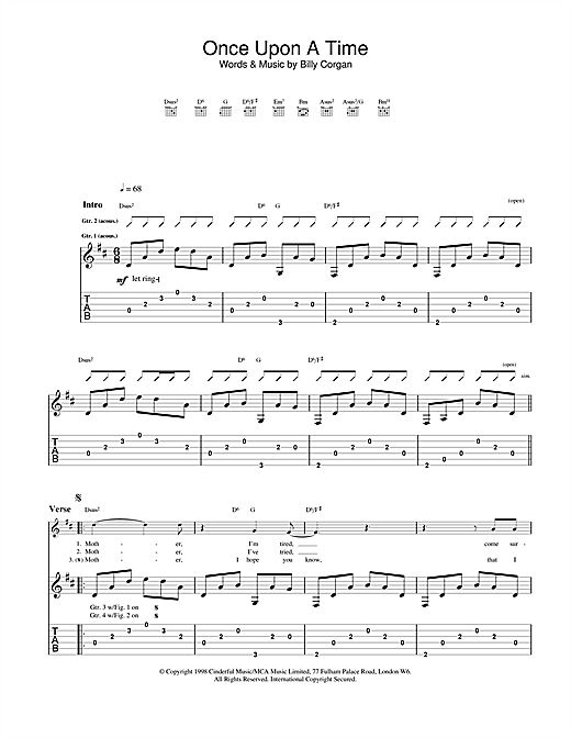 once upon a time guitar tab by the smashing pumpkins guitar tab 23155. Black Bedroom Furniture Sets. Home Design Ideas