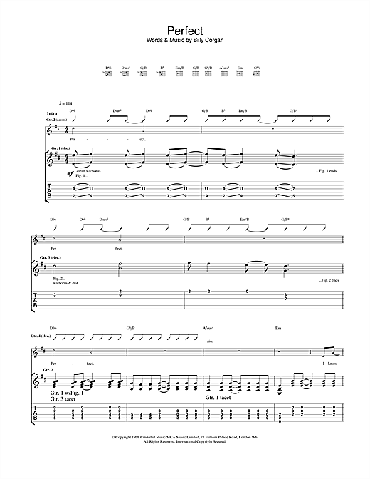 Tablature guitare Perfect de The Smashing Pumpkins - Tablature Guitare