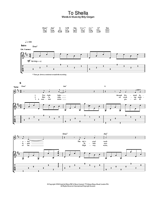 Tablature guitare To Sheila de The Smashing Pumpkins - Tablature Guitare