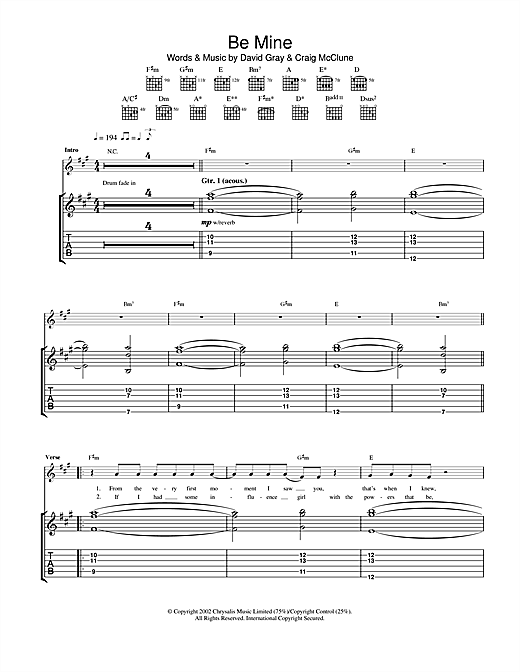 Tablature guitare Be Mine de David Gray - Tablature Guitare