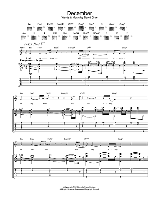 Tablature guitare December de David Gray - Tablature Guitare
