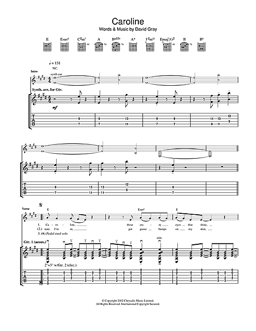 Tablature guitare Caroline de David Gray - Tablature Guitare