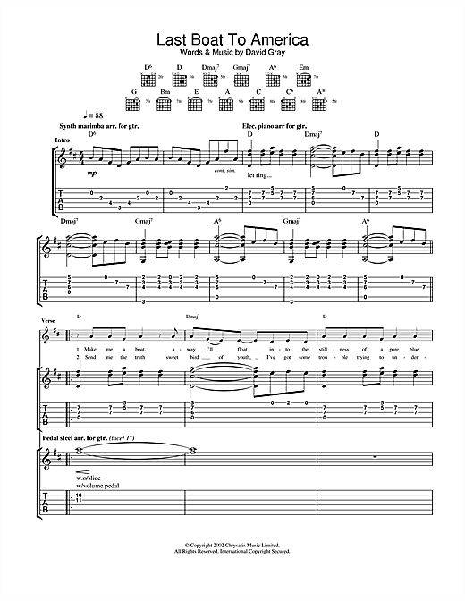 Last Boat To America Sheet Music