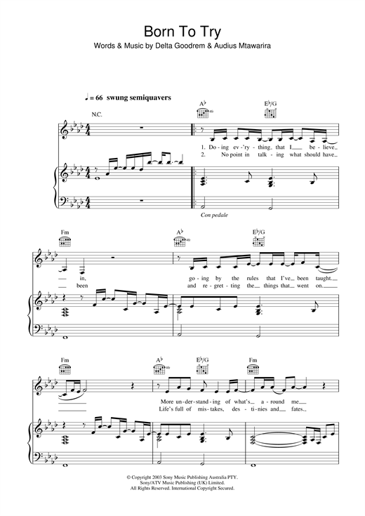 Partition piano Born To Try de Delta Goodrem - Piano Voix Guitare