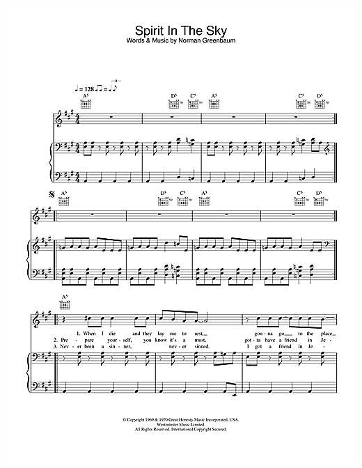 Spirit In The Sky Sheet Music