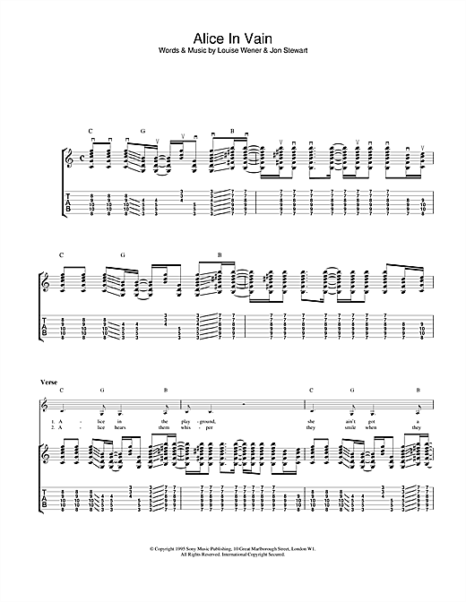 Alice In Vain Sheet Music