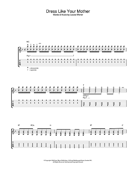 Tablature guitare Dress Like Your Mother de Sleeper - Tablature Guitare