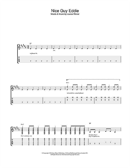 Tablature guitare Nice Guy Eddie de Sleeper - Tablature Guitare