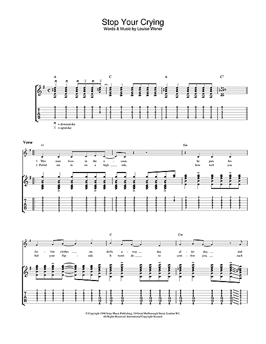 Tablature guitare Stop Your Crying de Sleeper - Tablature Guitare