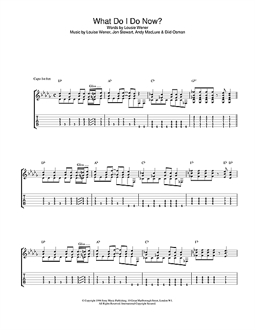 Tablature guitare What Do I Do Now? de Sleeper - Tablature Guitare
