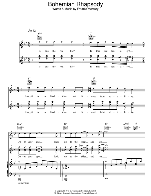 Bohemian Rhapsody Sheet Music