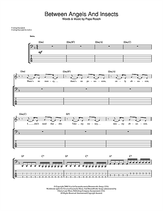 Tablature guitare Between Angels And Insects de Papa Roach - Tablature Basse