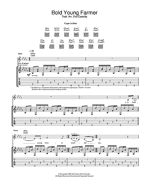Tablature guitare A Bold Young Farmer de Eva Cassidy - Tablature Guitare