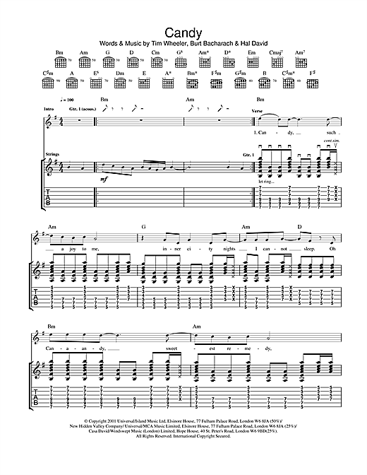 Tablature guitare Candy de Ash - Tablature Guitare