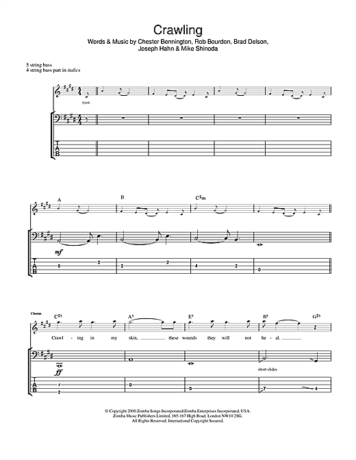 Tablature guitare Crawling de Linkin Park - Tablature Basse