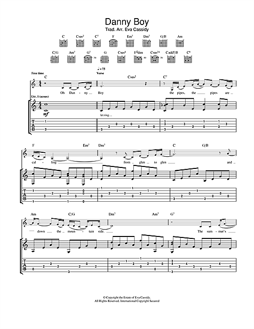 Danny Boy (Londonderry Air) Guitar Tab by Eva Cassidy (Guitar Tab ...