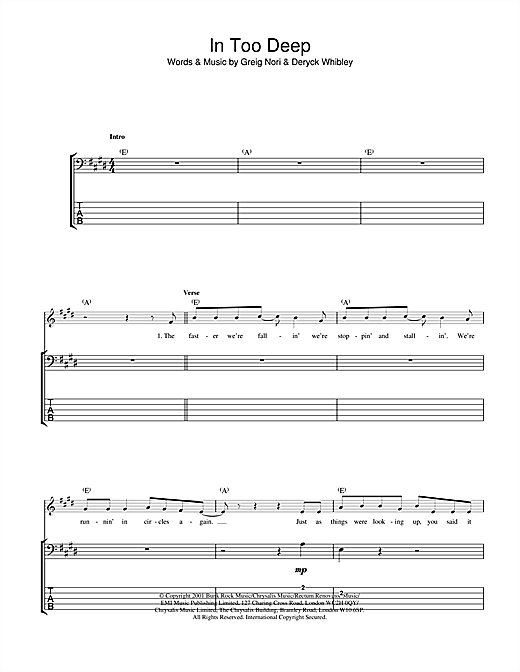 In Too Deep Sheet Music