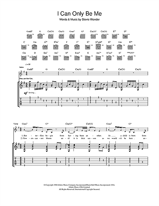 Tablature guitare I Can Only Be Me de Eva Cassidy - Tablature Guitare
