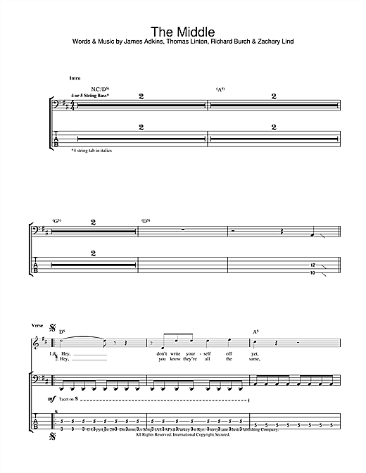 Tablature guitare The Middle de Jimmy Eat World - Tablature Basse