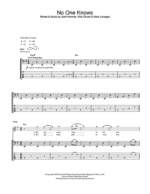 Tablature guitare No One Knows de Queens Of The Stone Age - Tablature Basse