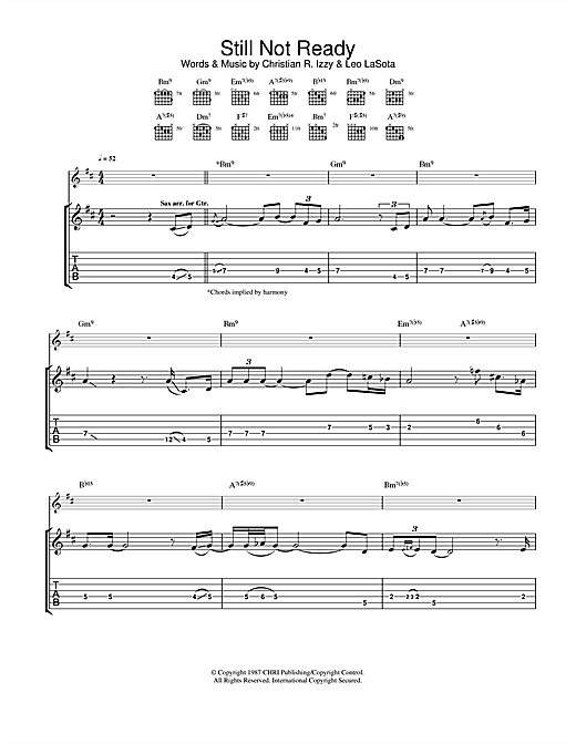 Still Not Ready Sheet Music