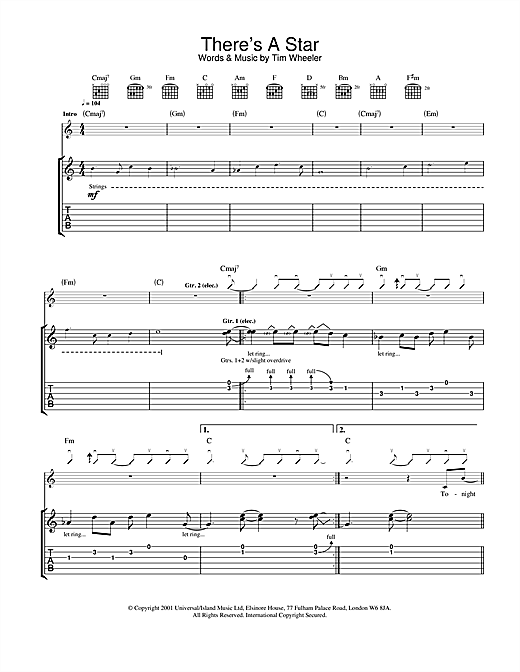 Tablature guitare There's A Star de Ash - Tablature Guitare