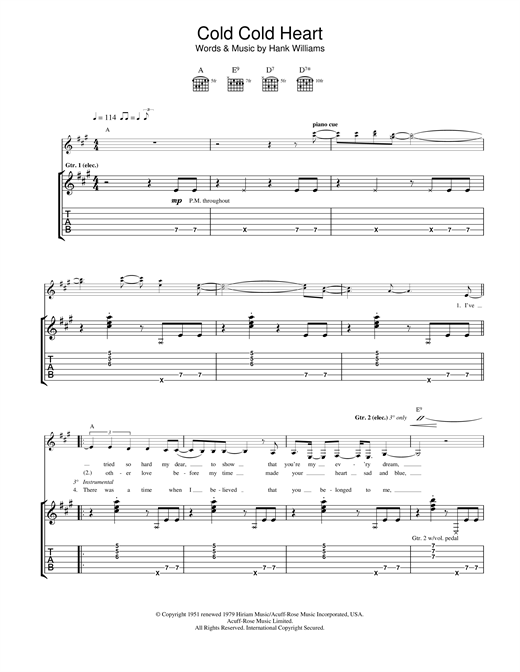 Tablature guitare Cold, Cold Heart de Norah Jones - Tablature Guitare